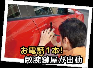 車の鍵を開ける